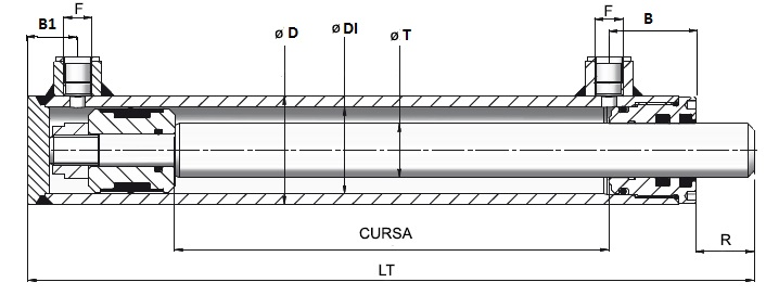Cilindri hidraulici cu dubla actiune tip PS